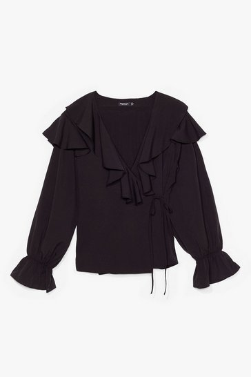 Black What Frill Happen Ruffle Blouse