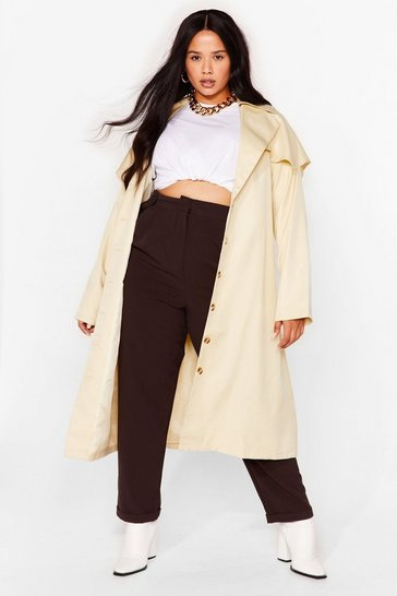 Camel Keep Under Cover Oversized Plus Trench Coat