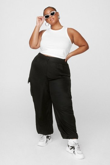 Black Plus Size Pocket Detail Cargo Pants