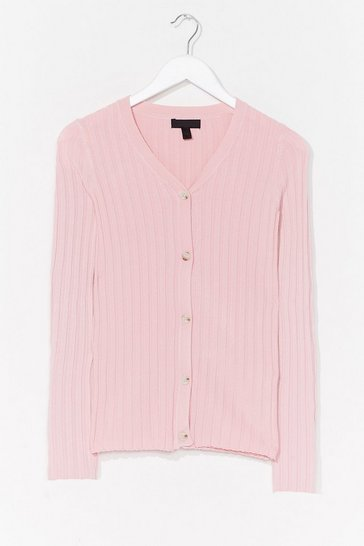Pink Seasons Change Ribbed Knit Cardigan