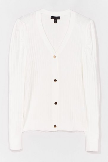White That's a Puff Call Ribbed Knit Cardigan