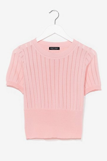 Pink Pointelle Taken Knitted Crop Top