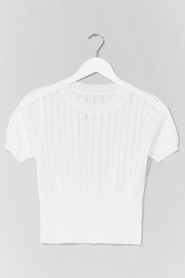 White Pointelle Taken Knitted Crop Top