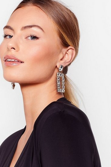Gold In the Stone Diamante Door Knocker Earrings