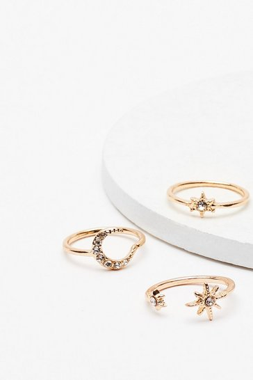 Gold Outta This World 3-Pc Diamante Ring Set