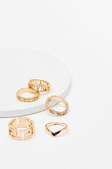Gold Geometric Design 5 Pc Ring Set