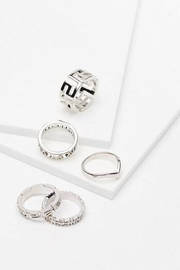 Silver Recycled Metal Geometric 5 Pc Ring Set