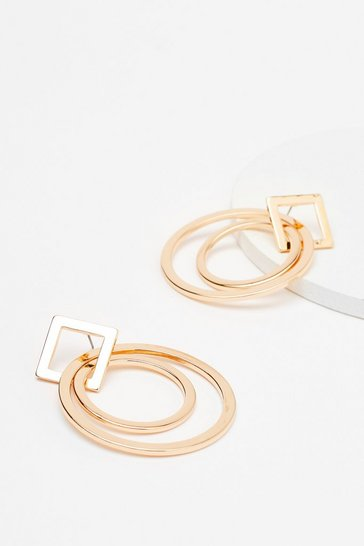 Gold Take Shape Geometric Hoop Earrings