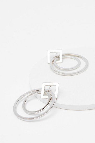 Silver Take Shape Geometric Hoop Earrings
