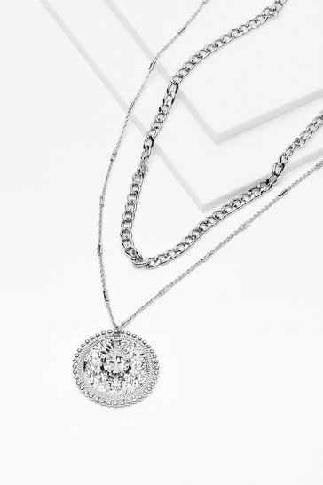 Silver Coin the Team Layered Chain Necklace
