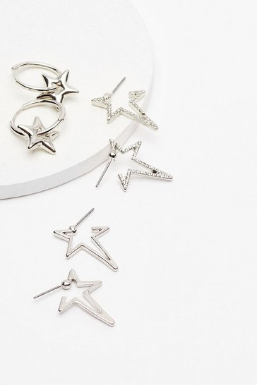 Silver Make a Star-t 3-Pc Earrings Set