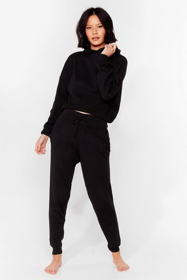 Black Morning Meeting Knitted Joggers Lounge Set