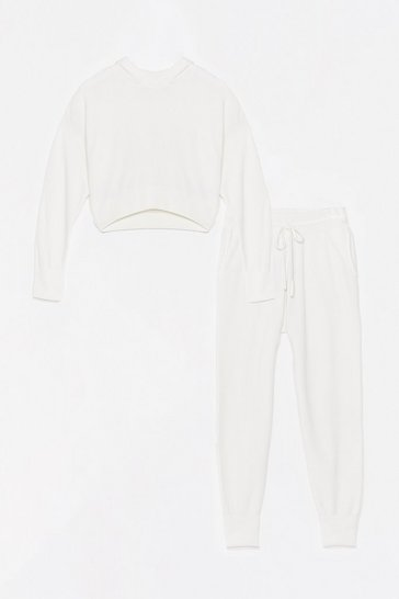 White Hoodie and Sweatpants Knit Loungewear Set