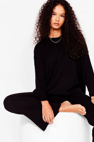 Black Crew Neck Lounge Top + Wide Leg Jogger Set