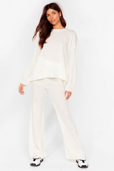 Cream Give It Two Me Wide-Leg Pants Lounge Set
