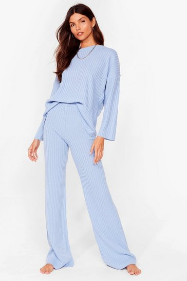 Ice blue Crew Neck Lounge Top + Wide Leg Jogger Set