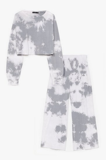 Grey Good Vibes Only Tie Dye Wide-Leg Pants Set