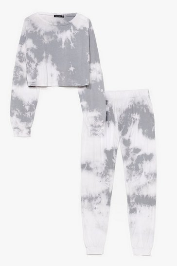 Grey Tie Dye Sweater + Jogger Lounge Set