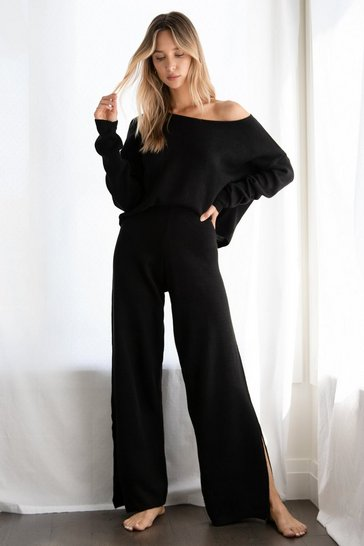 Black We Lounge Love Knitted Jumper and Trousers Set