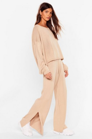 Oatmeal We Lounge Love Knitted Sweater and Pants Set
