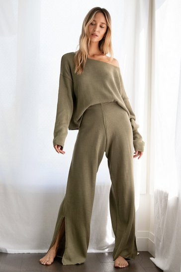 Olive We Lounge Love Knitted Sweater and Pants Set