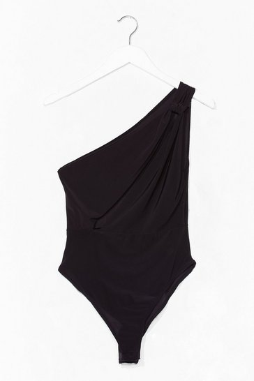 Black All One Board Slinky Bodysuit