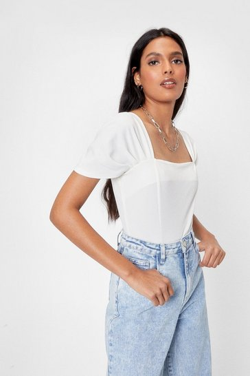 White Square Enough Puff Sleeve Bodysuit