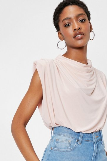 Nude Draped Sleeveless High Neck Bodysuit