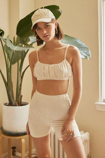 Cream It All Comes Ruching Back Top and Biker Shorts Set
