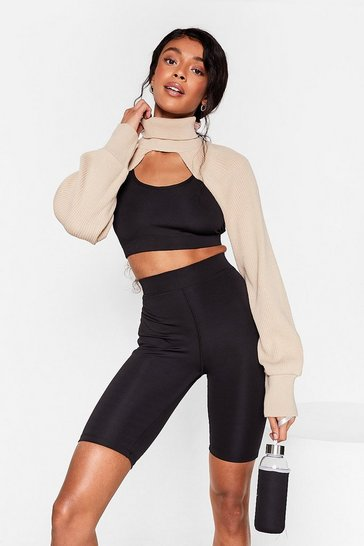 Black Get It Two-gether Crop Top and Biker Shorts Set