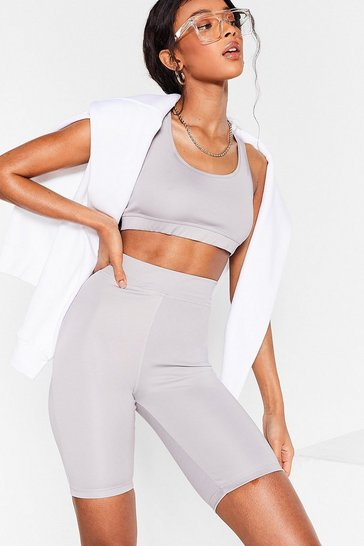 Grey Get It Two-gether Crop Top and Biker Shorts Set