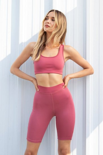 Mauve Sports Crop Top and Cycling Short Co ord