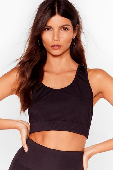 Black A Lil Mesh Conversation Mesh Workout Crop Top