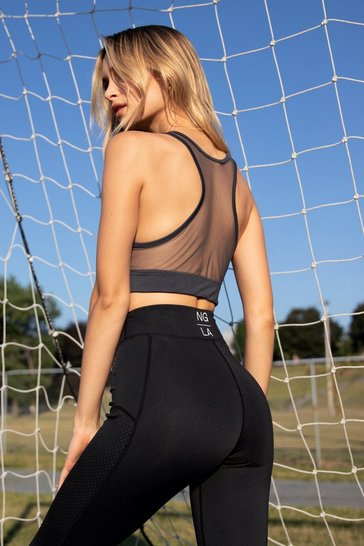 Charcoal A Lil Mesh Conversation Mesh Workout Crop Top
