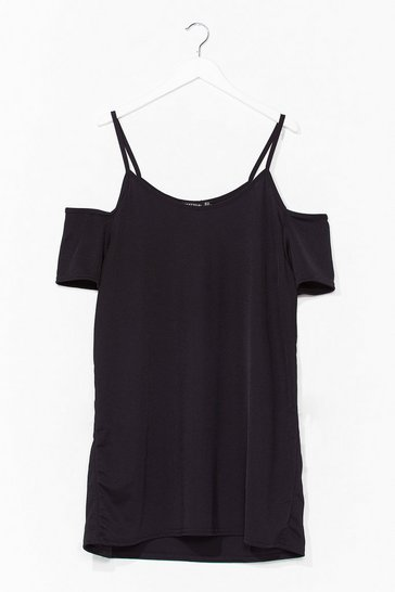 Black Ice Cold-Shoulder Plus Mini Dress