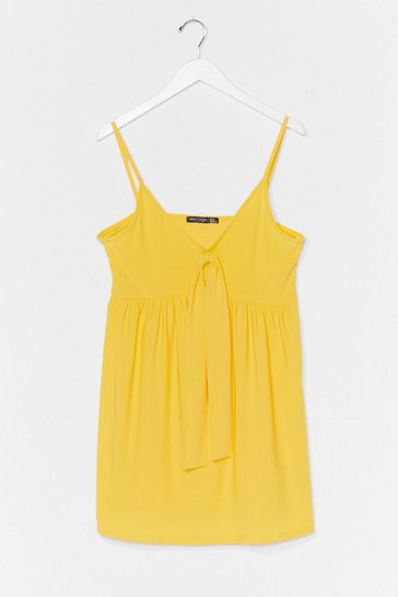 Lemon Tied Down Strappy Mini Dress