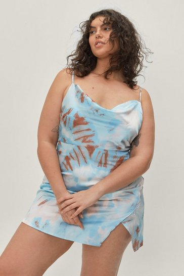 Blue Right On Tie Dye Plus Mini Dress