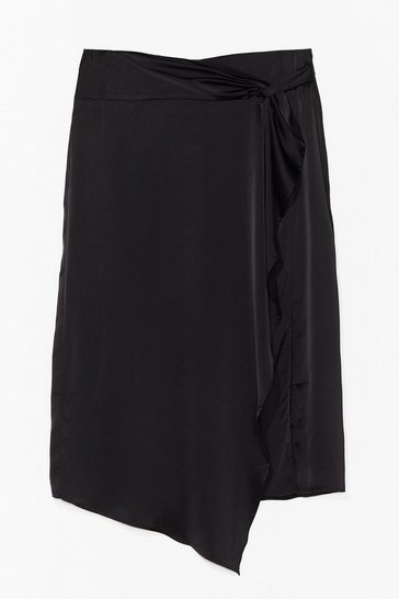 Black Plus Size Satin Drape Midi Skirt