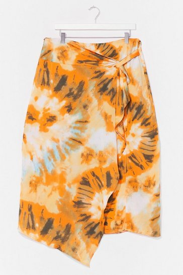 Yellow Right On Tie Dye Plus Midi Skirt
