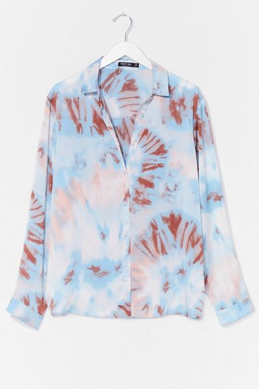 Blue Right on Tie Dye Plus Satin Shirt