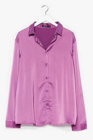 Smooth Criminal Plus Satin Shirt , Berry