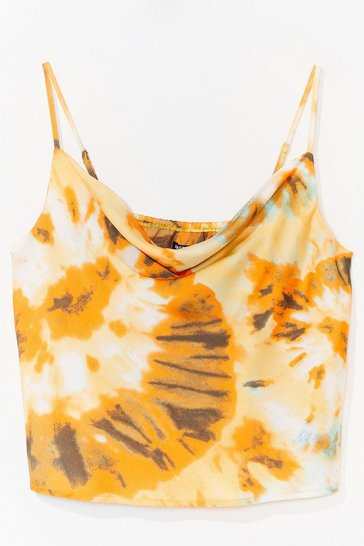 Yellow Right on Tie Dye Plus Cowl Cami Top