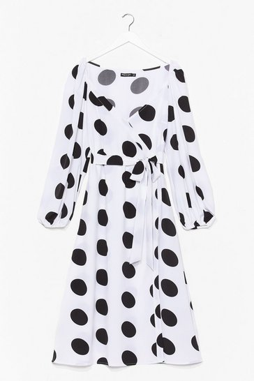 Plus Size Wrap Polka Dot Midi Dress, White