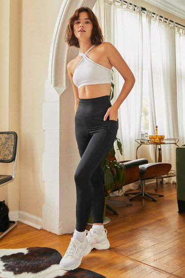 Black Pocket Up and Go High-Waisted Workout Leggings
