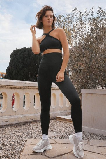 Black Be a Good Sport High-Waisted Workout Leggings