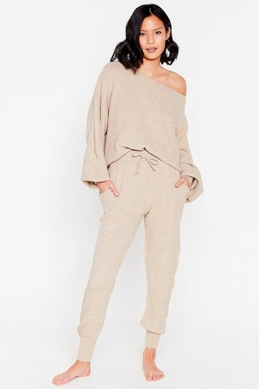 Beige Knit Happens Sweater and Joggers Lounge Set