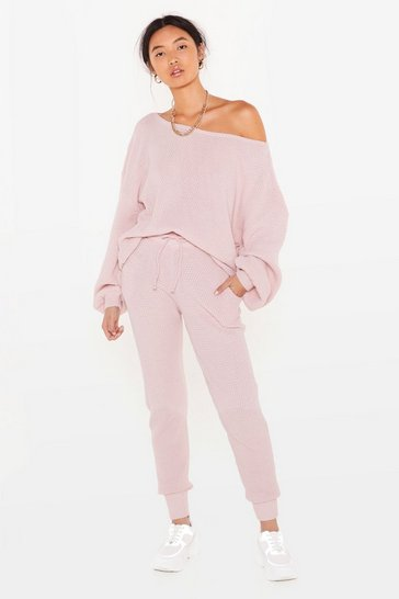 Pink Knit Happens Jumper and Joggers Lounge Set