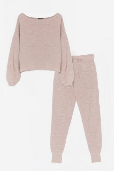 Stone Knit Happens Sweater and Joggers Lounge Set
