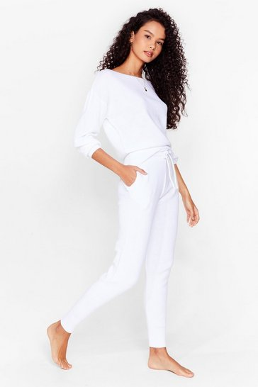 White Serious Chills Jumper and Joggers Lounge Set