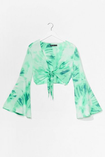 Green It's Groovy Cropped Tie Dye Top